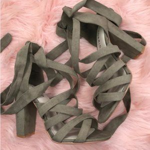 """Torrid Taupe Strappy Wrap 4"""" Heels 6.5W"""